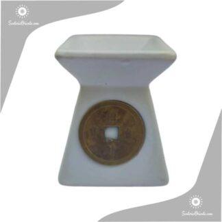 Hornillo con moneda china blanco