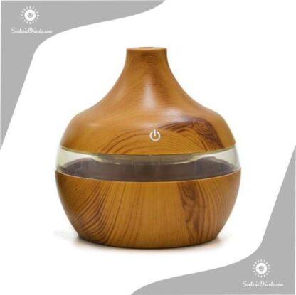 Humidificador con punta led 11 cm madera clara