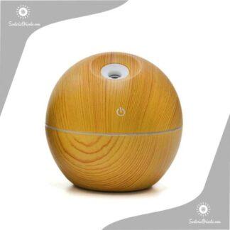 Humidificaor con forma de bolita marron claro madera con led 9,50