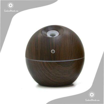 Humidificaor con forma de bolita marron oscuro madera con led 9,5