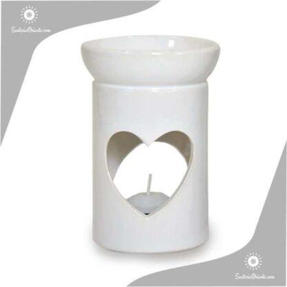 Hornillo Cilindrico Corazon 12 cm blanco