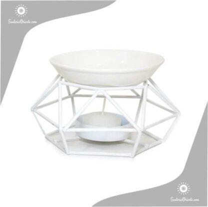 Hornillo Metal y Ceramica 8 cm. blanco