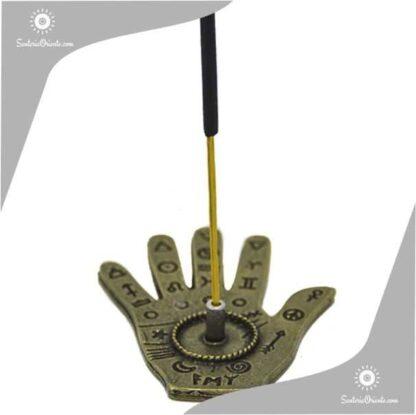 portasahumerios metal mano con simbolos tambien es porta inciensos