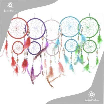atrapa sueños doble con plumas en varios colores