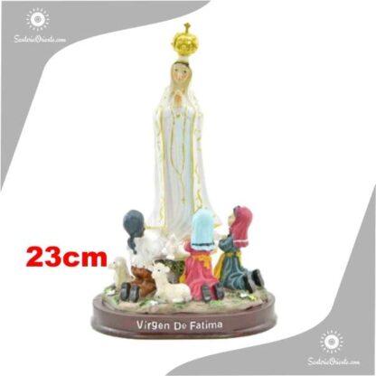 imagen de la Virgen de Fatima con los pastores de resina poliester de 23 cm