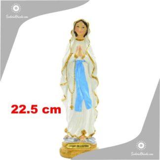 imagen de la virgen de lourdes de resina poliester de 22 cm