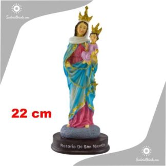 imagen de resina poliester de la virgen de san nicolas con corona 22 cm