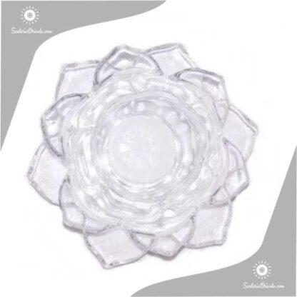 portavela flor de loto en vidrio vista de arriba
