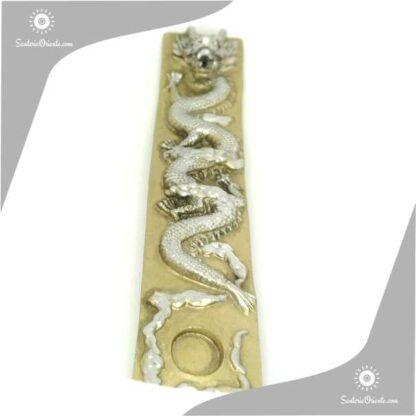 porta sahumerio largo con imagen de dragon en relieve dorado