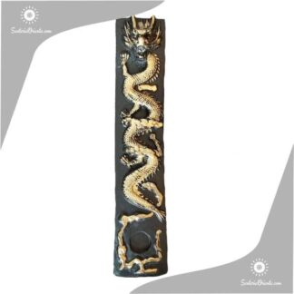 porta sahumerio largo con imagen de dragon en relieve fondo negro