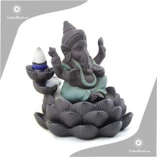 Porta Conos Ganesh sobre Loto 10,5 cm